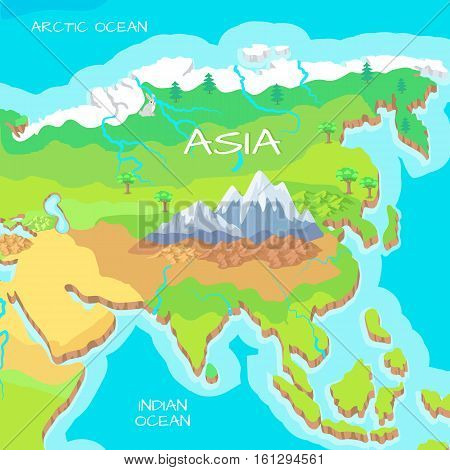 Asia isometric map with natural attractions. Cartography nature concept. Geographical map with local relief. Asia largest, most populous continent, located in eastern and northern hemispheres. Vector