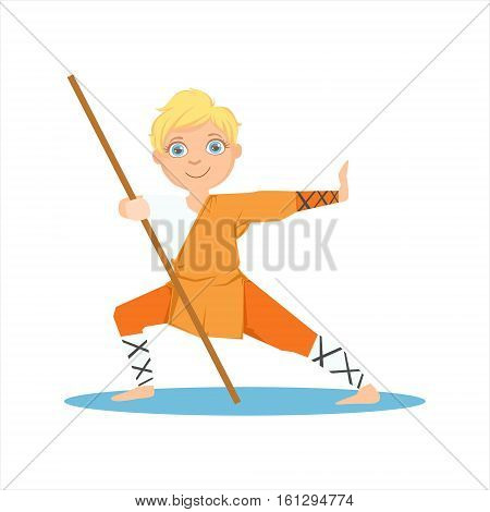 Boy In Shaolin Monk Orange Clothes With a Pole On Karate Martial Art Sports Training Cute Smiling Cartoon Character. Part Of Kids Fighters In Traditional Asian Karate Outfit Collection Of Vector Illustrations