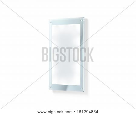 Blank white illuminated poster mockup under the glass holder 3d rendering. Acrylic sign plate holding clear affiche mock up. Paper placard in glowing frame template isolated. poster