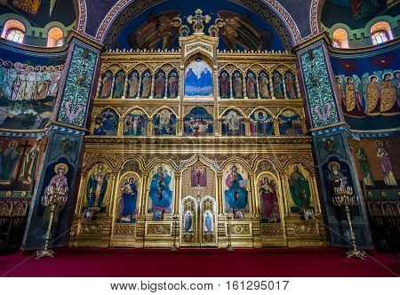 Sibiu Romania - July 7 2016: Iconostasis of Orthodox Holy Trinity Cathedral in Sibiu city