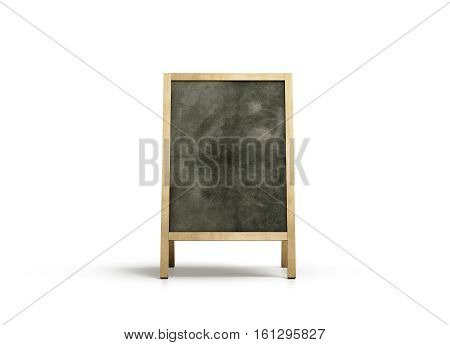 Blank outdoor chalkboard stand mockup isolated front view 3d rendering. Clear street signage with blackboard mock up. A-board with wooden frame template. Bar or restaurant welcome easel.
