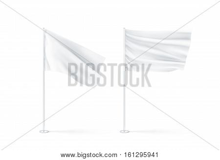 Blank white waving flags mockup 3d rendnering. Clear rippled flagpole design mock up. Pole with banner on wind. Business branding cloth pennon. Clean pillar for logo presentation.