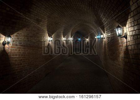 Alba Iulia Romania - July 7 2016: Tunnel passage in Citadel of Alba Iulia city