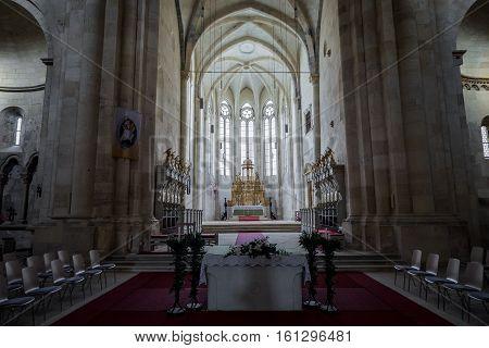 Alba Iulia Romania - July 7 2016: Interior of St. Michael's Cathedral in Citadel of Alba Iulia city