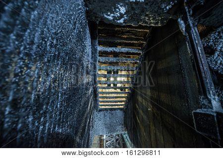 Turda Romania - July 8 2016: Stairs in Salina Turda salt mine in Turda city