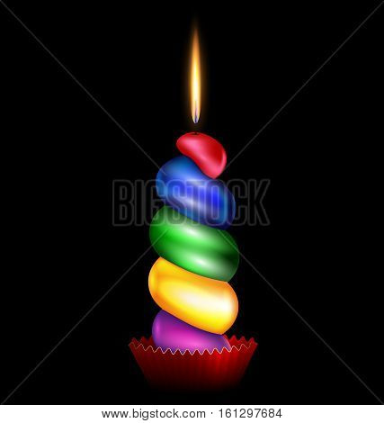 black background and the large colored burning candle