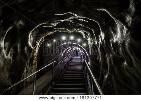 Turda Romania - July 8 2016: Entry stairs in Salina Turda salt mine in Turda city