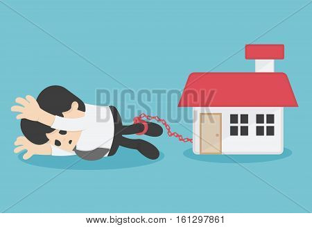 Cartoon Character Business chained on ankle the debt of home
