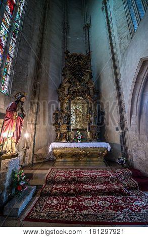 Cluj-Napoca Romania - July 8 2016: Small altar in St. Michael's Church in Cluj-Napoca city