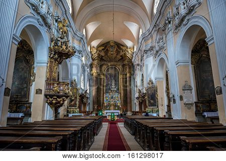 Cluj-Napoca Romania - July 8 2016: Interior of Church of The Holy Trinity in Cluj-Napoca city