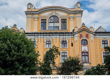 Cluj-Napoca Romania - July 8 2016: Lucian Blaga National Theatre in Cluj-Napoca city