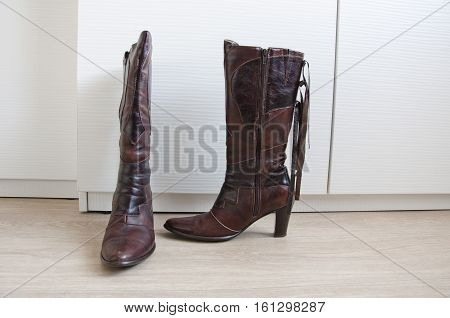 Brown Leather Female Boots