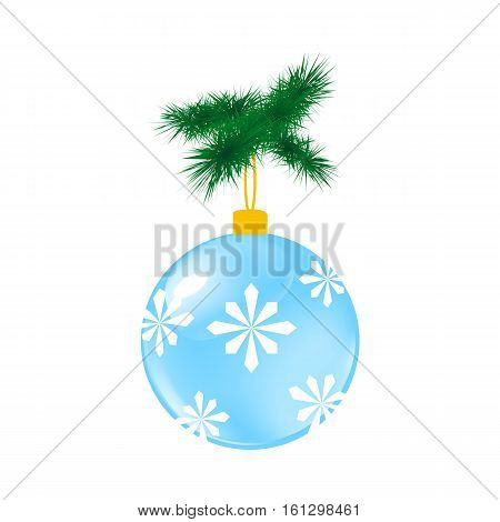Blue Christmas glass ball with pine. Vector illustration of glass decorative object on white.