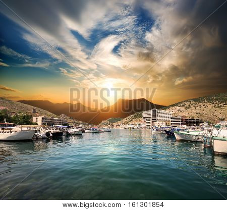 Bay of Balaclava with boats at sunset