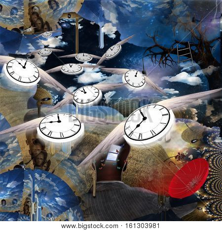 Time fly through this strange land  3D Render  Some elements provided courtesy of NASA