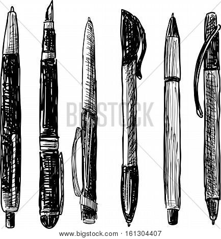 Vector sketch of the collection of the different pens.