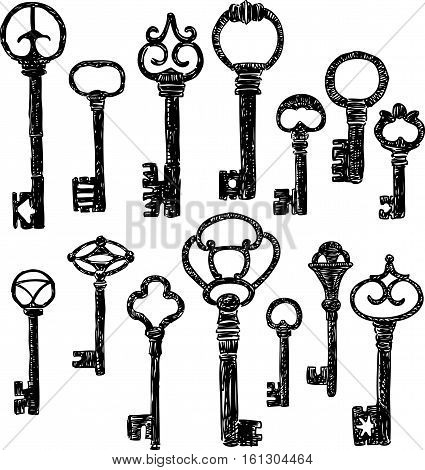 Vector drawing of the collection of the ancient keys.