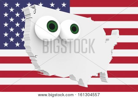 Cartoon Country Map USA With Big Eyes US Flag In Background 3d illustration