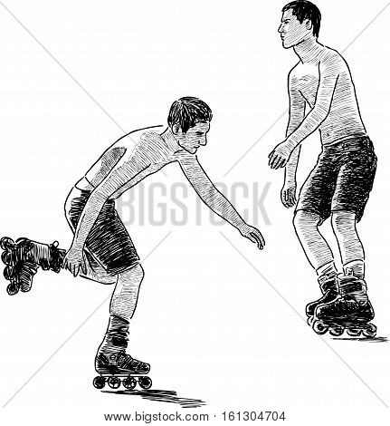 Vector sketch of the young men rollerblading.
