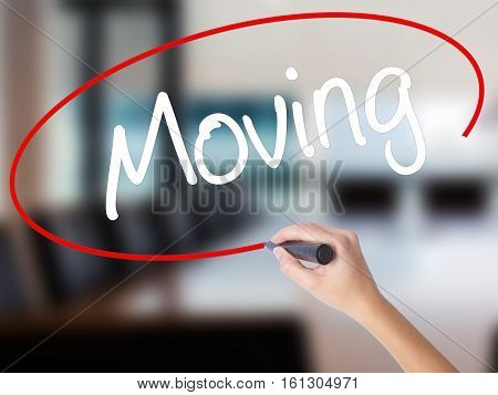 Woman Hand Writing Moving With A Marker Over Transparent Board