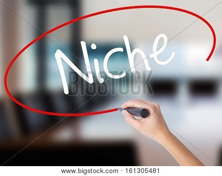 Woman Hand Writing Niche With A Marker Over Transparent Board.