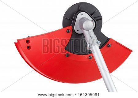 Protective cover on the new weed trimmer lawn mower brush cutter closeup isolated on white background clipping path included