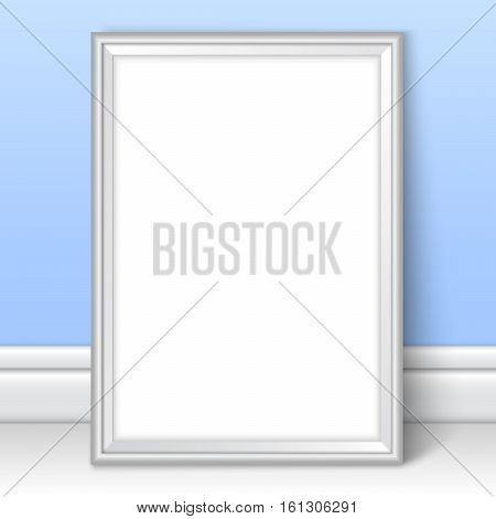 Photoframe template near blue wall. Realistic mockup vector. Silver framing great for kids drawing painting or photo. Picture template for children room or school theme design.