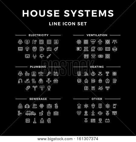 Set line icons of house systems isolated on black. Vector illustration