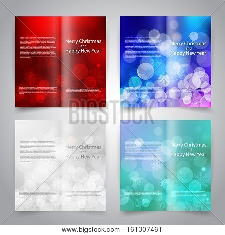 Brochure design templates set with abstract background with snowflakes and bokeh lights. Red, blue, white colors. Merry Christmas and Happy New Year vector brochure mockup EPS10