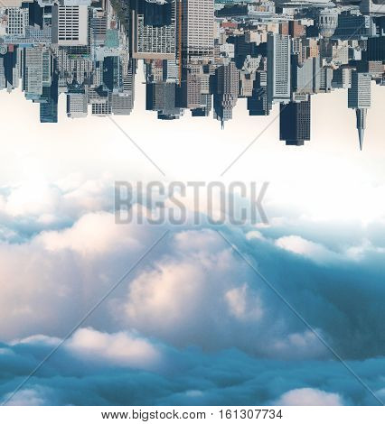 Abstract upside down city and cloudy sky background.
