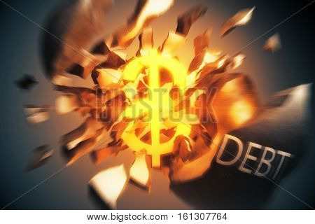 Debt concept. Exploding wrecking ball with golden dollar sign inside on dark background. 3D Rendering