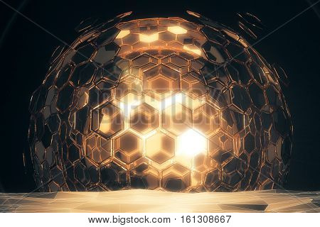 Abstract cellular golden sphere on dark background. Technology concept. 3D Rendering