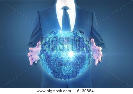 Businessman holding abstract cellular sphere on dark background. Technology concept. 3D Rendering