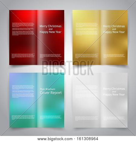 Brochure design templates set with abstract colorful backgrounds. Red, gold, blue, white colors. Merry Christmas and Happy New Year vector brochure mockup EPS10
