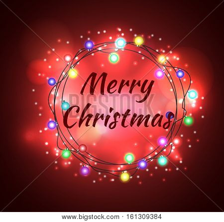 Garlands, Christmas Decorations Lights Effects. Isolated Vector Design Elements. Glowing Lights For