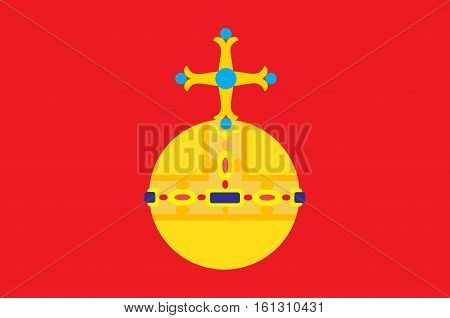 Flag of Uppsala County is a county or län on the eastern coast of Sweden. Vector illustration