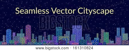 Horizontal Seamless Landscape, Urban Background, Night City with Skyscrapers against Starry Sky. Vector