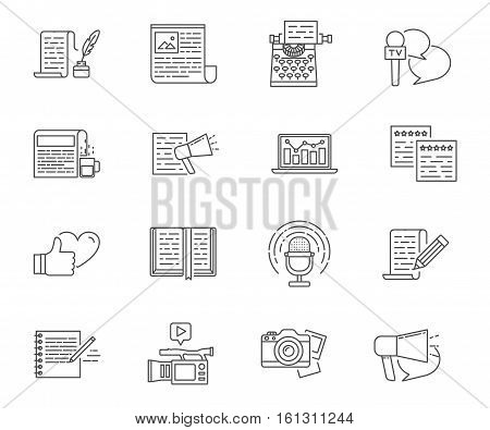 Copywriting and writing set of vector icons