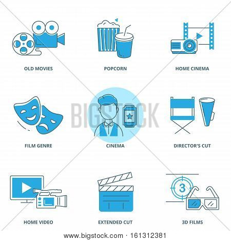 Movie vector icons set modern line style