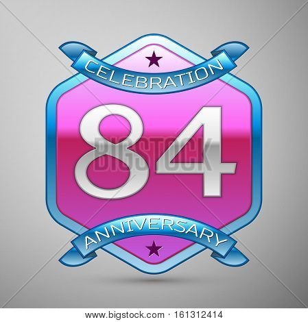 Eighty four years anniversary celebration silver logo with blue ribbon and purple hexagonal ornament on grey background.