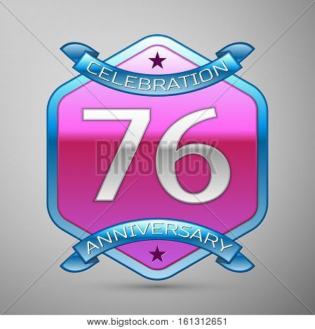 Seventy six years anniversary celebration silver logo with blue ribbon and purple hexagonal ornament on grey background.