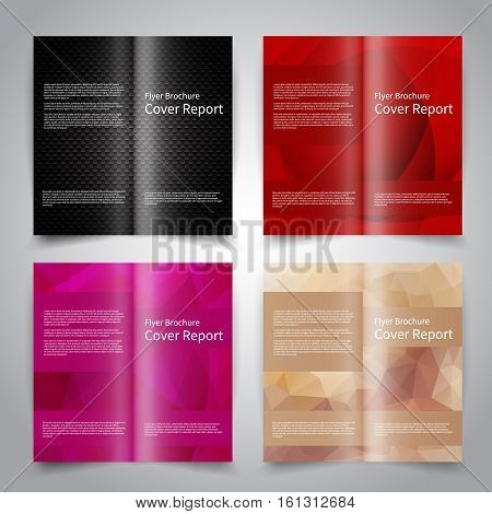 Brochure design templates set with abstract geometric background. Black, red, purple and beige colors. Vector brochure mockup EPS10
