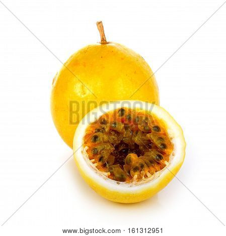 Passion fruit isolated on white background ripe, leaf, drip, passion-fruit, drop, cut, fresh