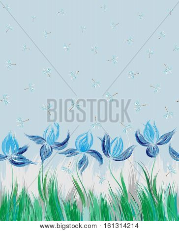 Vertical Floral seamless pattern of irises and dandelion seeds. Irises painted imitation of oil paint. Blue green flowers on a blue background. Cute print for bedding, clothes, dress etc