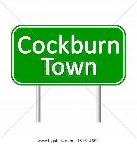 Cockburn Town road sign isolated on white background.