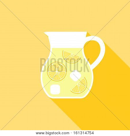 Lemonade Juice jug icon, Flat design vector illustration