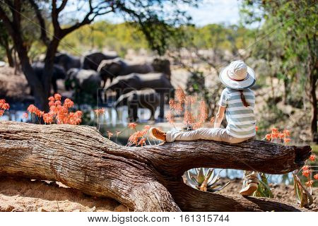 Little girl on African safari vacation enjoying wildlife viewing at watering hole