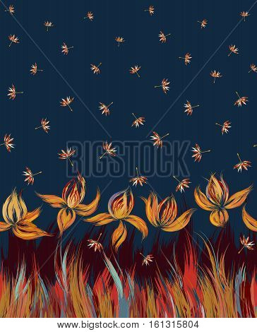 Vertical Floral seamless pattern of irises and dandelion seeds. Irises painted imitation of oil paint. Blue orange vinous flowers on a darl blue background. Cute print for bedding, clothes, dress etc