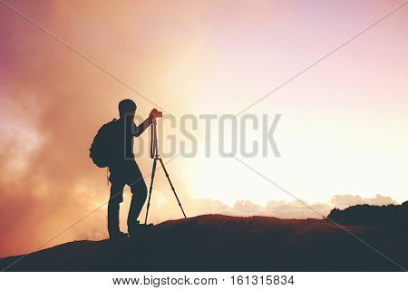Silhouette man photographer outdoor travel holiday time