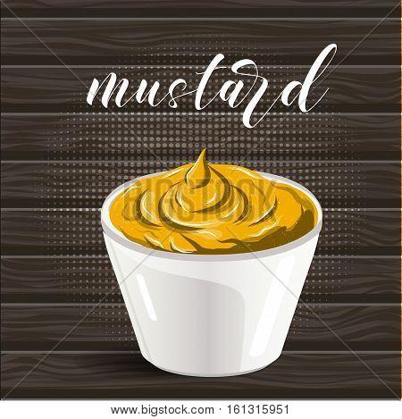 Vector abstract logo ceramic dip bowl, filled mustard. EPS